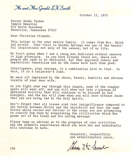 Gerald L.K. Smith Letter - Oct. 13, 1975 to Dewey H. Tucker