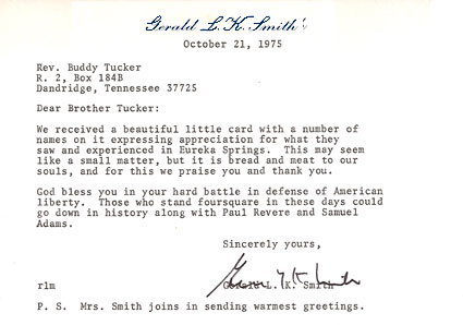 Gerald L.K. Smith Letter - Oct. 21, 1975 to Dewey H. Tucker
