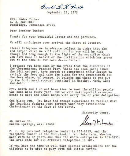 Gerald L.K. Smith Letter - Sept. 12, 1975 to Dewey H. Tucker