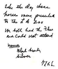 Note on the reverse side of Gerald L. K. Smith's miniture horse.