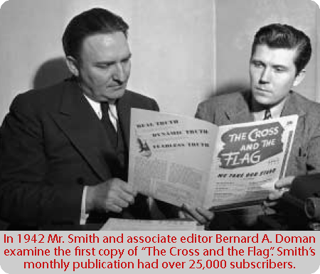 picture of Dr. Gerald L. K. Smith and his associated editor Benard Doman with first issue of the cross and the flag in 1944