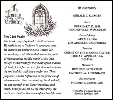 Remembrance Card at Gerald L. K. Smith's funeral